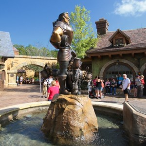 32 of 43: Fantasyland - Fantasyland soft opening - Gaston's Statue in Belle's Village