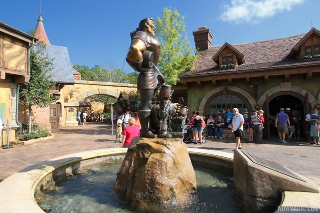 Fantasyland - Fantasyland soft opening - Gaston's Statue in Belle's Village
