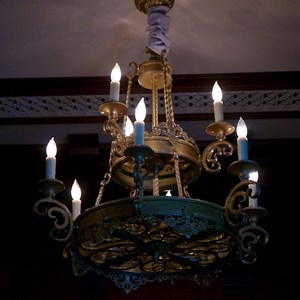 11 of 21: Fantasyland - Inside Be our Guest Restaurant -  Lobby lighting