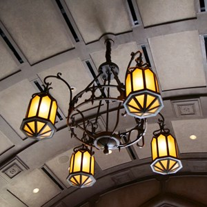 12 of 21: Fantasyland - Inside Be our Guest Restaurant -  Lobby lighting