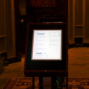 16 of 21: Fantasyland - Inside Be our Guest Restaurant -  Touch screen menus for ordering quick service lunch