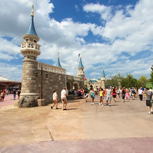 1 of 10: Fantasyland - Construction walls removed around second side of the castle walls