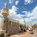 Fantasyland - Construction walls removed around second side of the castle walls