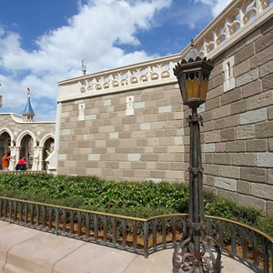 3 of 10: Fantasyland - Construction walls removed around second side of the castle walls