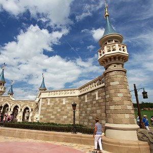 4 of 10: Fantasyland - Construction walls removed around second side of the castle walls