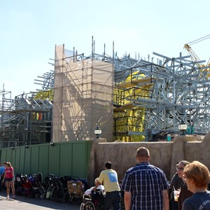 3 of 6: Fantasyland - Seven Dwarfs Mine Train coaster construction - side facing Little Mermaid