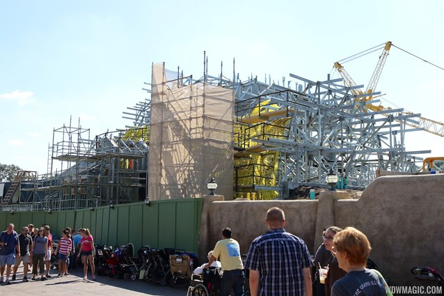 Fantasyland - Seven Dwarfs Mine Train coaster construction - side facing Little Mermaid