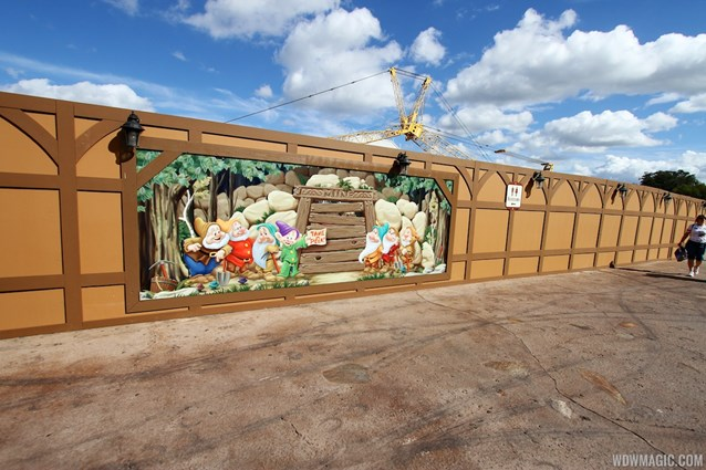 Fantasyland - New Seven Dwarfs Mine Train  construction walls