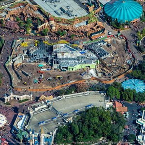 1 of 2: Fantasyland - Seven Dwarfs Mine Train coaster construction aerial view - December 2012