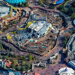 2 of 2: Fantasyland - Seven Dwarfs Mine Train coaster construction aerial view - December 2012
