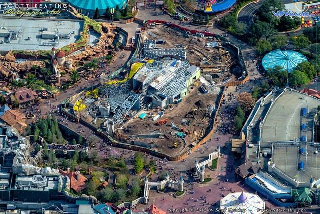 Fantasyland - Seven Dwarfs Mine Train coaster construction aerial view - December 2012