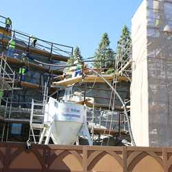Seven Dwarfs Mine Train coaster construction - trees arrive