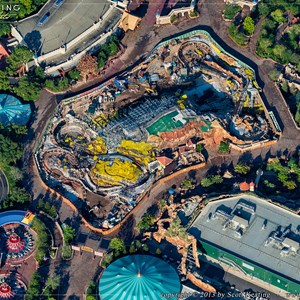 1 of 1: Fantasyland - Aerial view of Seven Dwarfs Mine Train construction site
