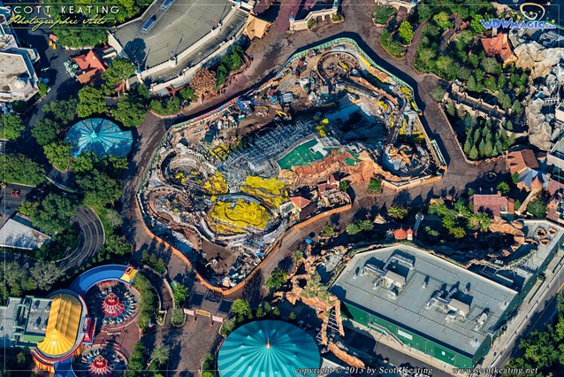 Fantasyland - Aerial view of Seven Dwarfs Mine Train construction site