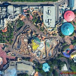 Aerial view of the Seven Dwarfs Mine Train coaster construction