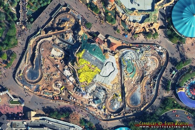 Fantasyland - Aerial view of the Seven Dwarfs Mine Train coaster construction October 2013
