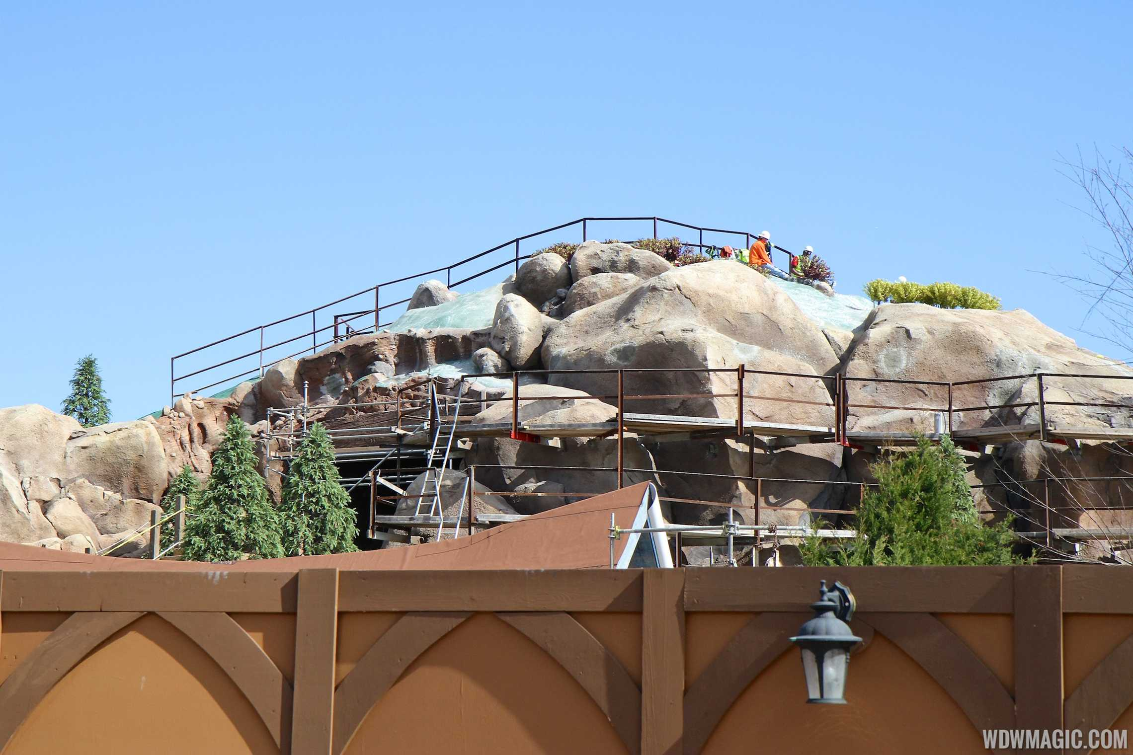 Trees and other landscaping at the Seven Dwarfs Mine Train