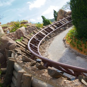 4 of 11: Fantasyland - Walls down to reveal more of Seven Dwarfs Mine Train Coaster