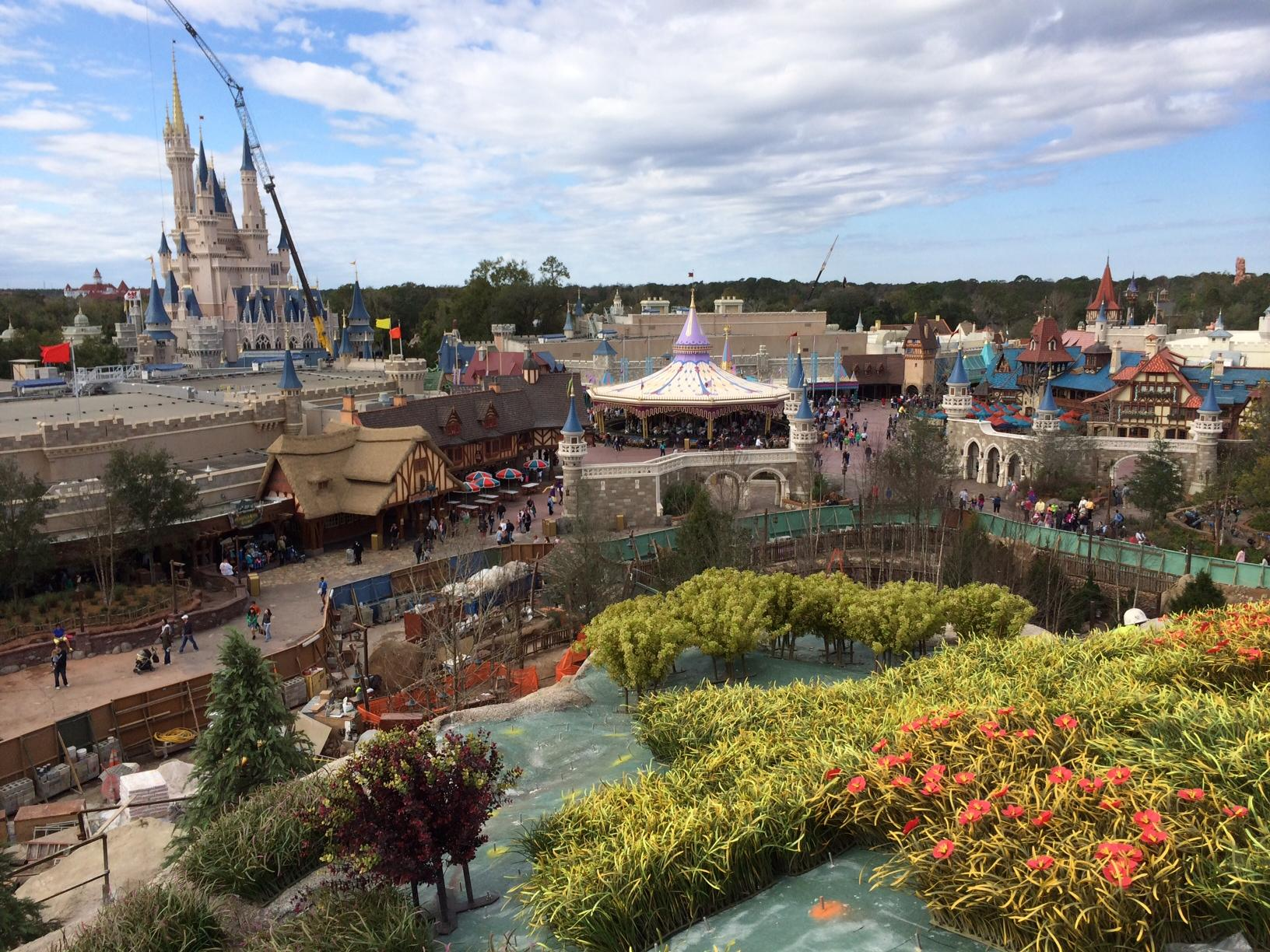 The view from the top of the Seven Dwarfs Mine Train coaster