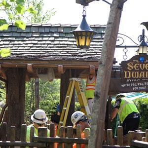 2 of 19: Fantasyland - Walls down around queue at Seven Dwarfs Mine Train coaster