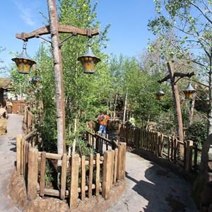 7 of 19: Fantasyland - Walls down around queue at Seven Dwarfs Mine Train coaster