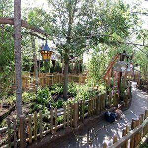 10 of 19: Fantasyland - Walls down around queue at Seven Dwarfs Mine Train coaster