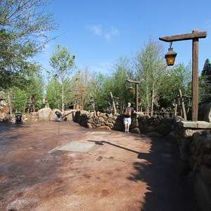 12 of 19: Fantasyland - Walls down around queue at Seven Dwarfs Mine Train coaster