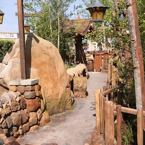 5 of 19: Fantasyland - Walls down around queue at Seven Dwarfs Mine Train coaster