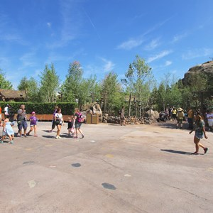 17 of 19: Fantasyland - Walls down around queue at Seven Dwarfs Mine Train coaster
