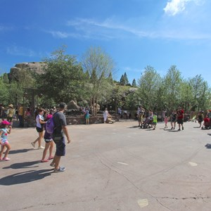 19 of 19: Fantasyland - Walls down around queue at Seven Dwarfs Mine Train coaster