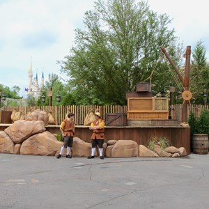 1 of 4: Fantasyland - Seven Dwarfs Mine Train dedication ceremony stage setup