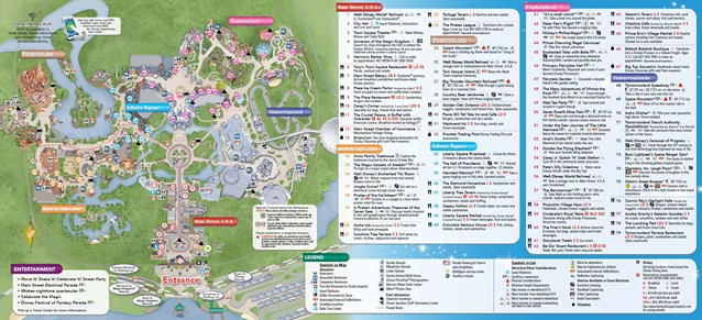 Fantasyland - New Magic Kingdom guide map featuring Seven Dwarfs Mine Train - back
