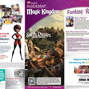 1 of 3: Fantasyland - New Magic Kingdom guide map featuring Seven Dwarfs Mine Train - front cover