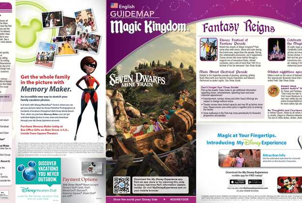 Seven Dwarfs Mine Train takes the front cover of the Magic Kingdom guide map