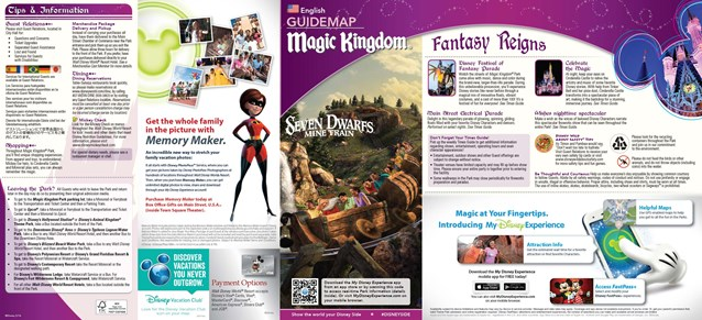 Fantasyland - New Magic Kingdom guide map featuring Seven Dwarfs Mine Train - front cover