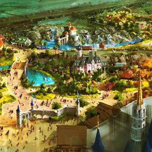 1 of 2: Fantasyland - A bird's-eye view of the vastly-expanded Fantasyland at the Magic Kingdom in Walt Disney World which will offer Guests a new land of enchantment in a magical fairy tale forest just beyond the castle walls.