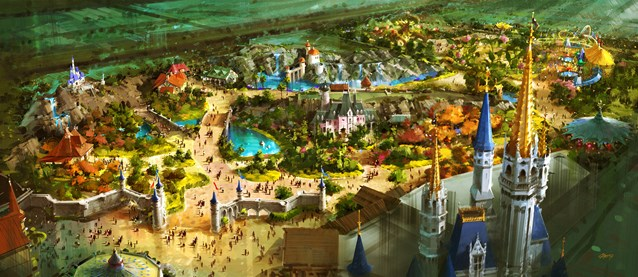 Fantasyland - A bird's-eye view of the vastly-expanded Fantasyland at the Magic Kingdom in Walt Disney World which will offer Guests a new land of enchantment in a magical fairy tale forest just beyond the castle walls.