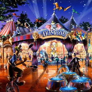 2 of 2: Fantasyland - One of the Magic Kingdom's most beloved attractions, Dumbo the Flying Elephant, is completely re-imagined when the circus comes to town. Guests are invited to step into the big top and join the circus before their magical flight over Fantasyland