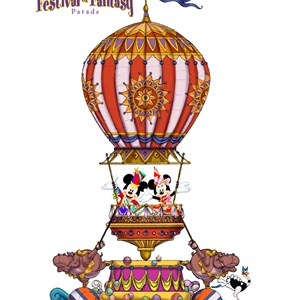 1 of 5: Disney Festival of Fantasy Parade - Festival of Fantasy Parade concept art - Mickey and Minnie float