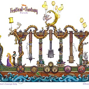 3 of 5: Disney Festival of Fantasy Parade - Festival of Fantasy Parade concept art - Tangled float