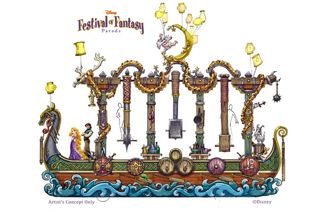 Disney Festival of Fantasy Parade - Festival of Fantasy Parade concept art - Tangled float