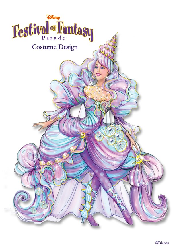 Disney Festival of Fantasy Parade - Disney Festival of Fantasy Parade Costumes - Seashell Girl concept art