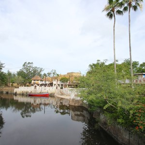 1 of 40: Festival of the Lion King - New Harambe Theatre area in Africa - View from the Discovery Island bridge