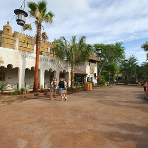 25 of 40: Festival of the Lion King - New Harambe Theatre area in Africa - Overview of the area and FastPass+ queue