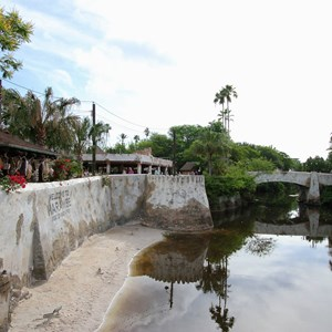 7 of 40: Festival of the Lion King - New Harambe Theatre area in Africa - View from the overlook back towards Discovery Island