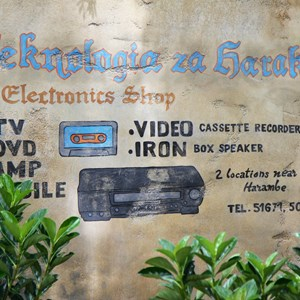 17 of 40: Festival of the Lion King - New Harambe Theatre area in Africa - Wall art in stroller area