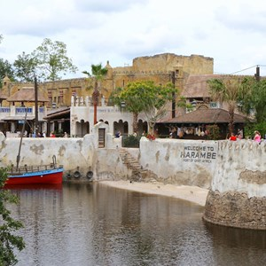 2 of 40: Festival of the Lion King - New Harambe Theatre area in Africa - View from Discovery Island bridge