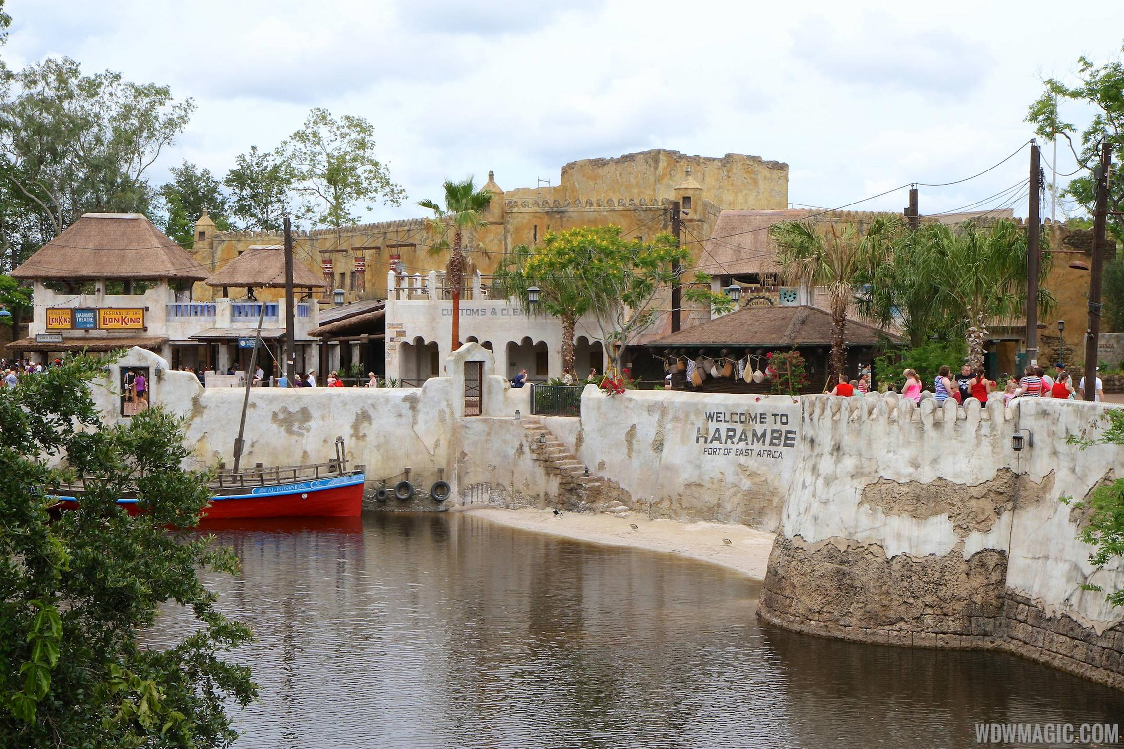 New Harambe Theatre area in Africa - View from Discovery Island bridge