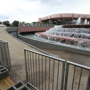 1 of 2: Fountain of Nations - Railing installation on stage