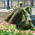 France (Pavilion) - Topiary in front of a recreation of the &#39;Ponts des Arts&#39; bridge that once spanned the river Seine